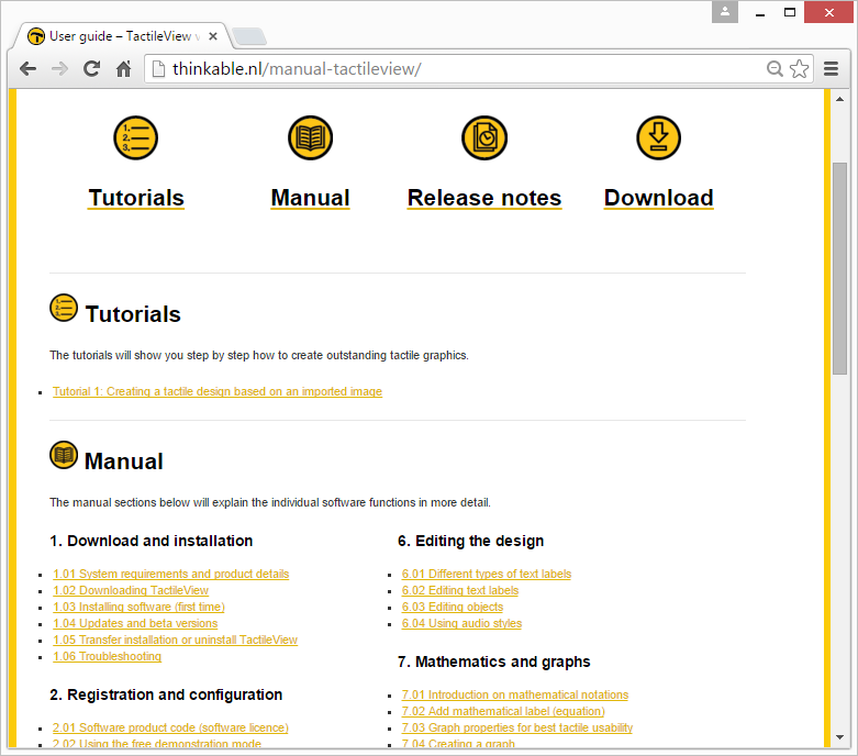 Screenshot of the TactileView manual page