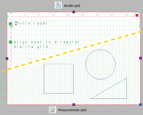 Highlighting the braille grid (above) and measurements grid (below)